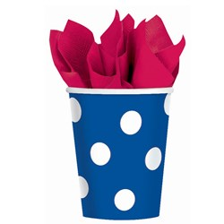 Blue Polka Dot 9 oz. Paper Cups (18 count)
