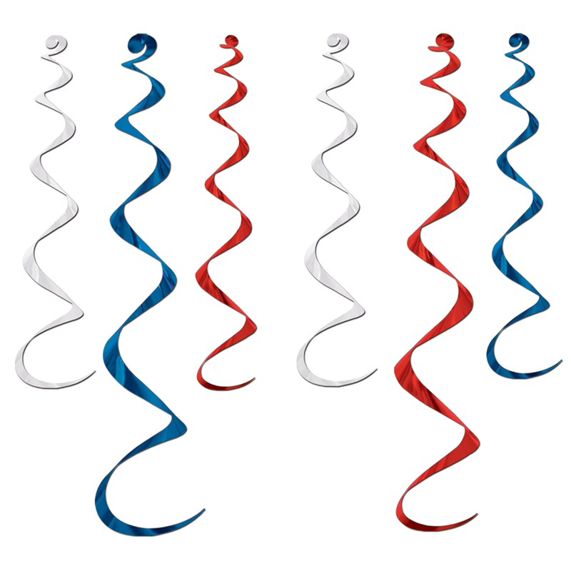 Red, White and Blue Twirly Whirlys (6 count) for the 2015 Costume season.