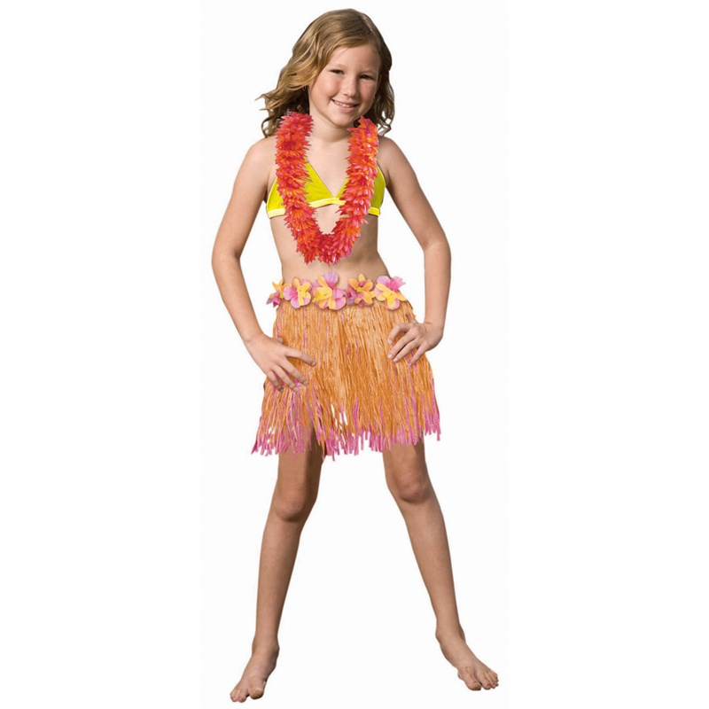 Child Two Tone Pink  and  Orange Hula Skirt for the 2015 Costume season.