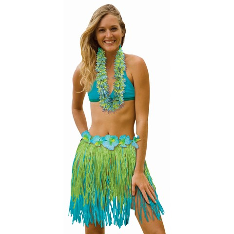 """Adult 31"""" Two Tone Blue / Green Grass Skirt"""