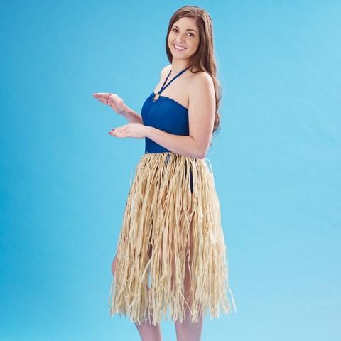 "Adult 36"" Natural Raffia Hula Skirt"