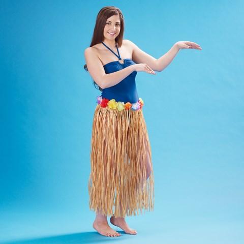 "Adult 36"" Artificial Natural Grass Hula Skirt with Floral Waistband"