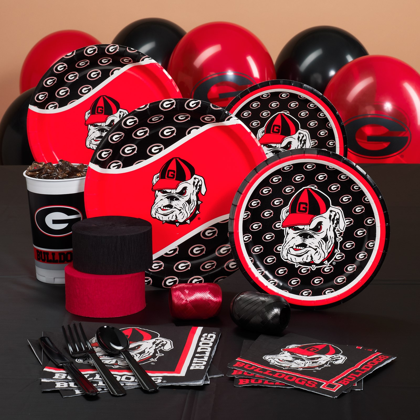 Image of Georgia Bulldogs College Deluxe Party Kit