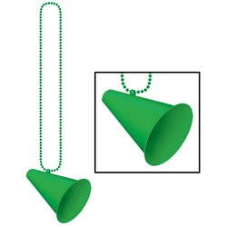 Beads with Megaphone Medallion - Green