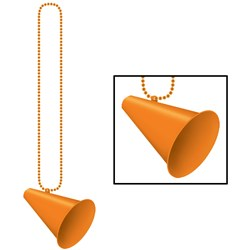 Beads with Megaphone Medallion - Orange