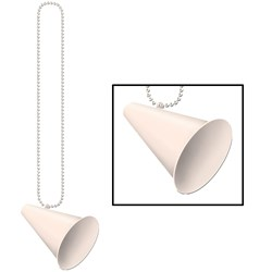 Beads with Megaphone Medallion - White