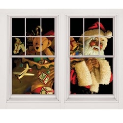 Santa Claus with Toy Sack Window Scene