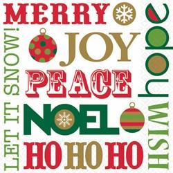 Christmas Merry, Joy, Peace - Beverage Napkins (16 count)