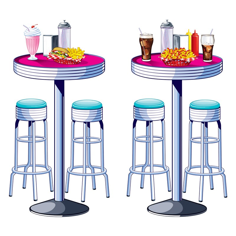1950s Soda Shop Tables Stools Props for the 2015 Costume season.