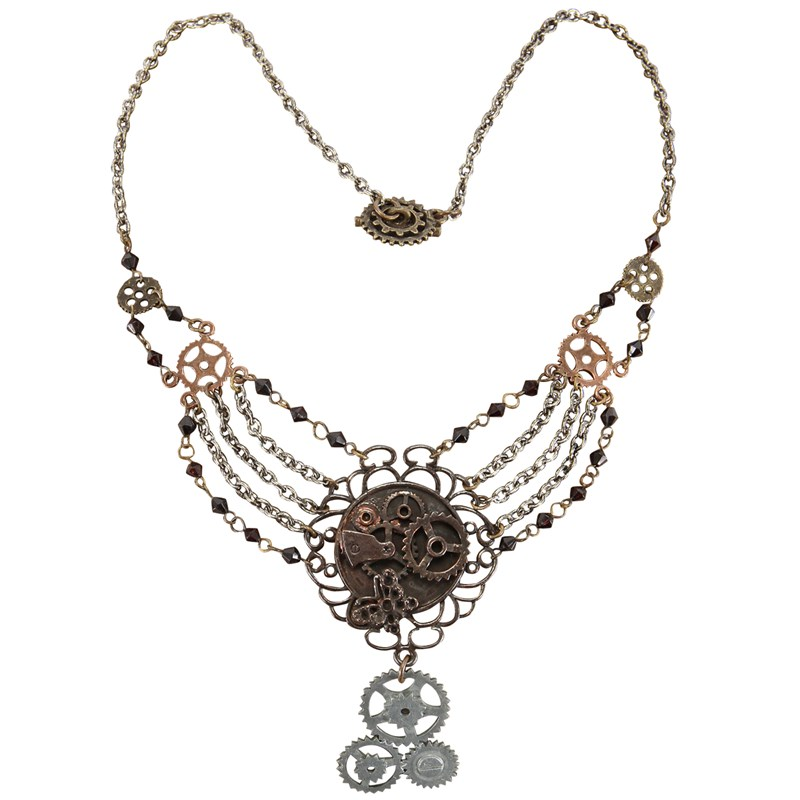 Steampunk Gear Chain Antique Necklace Adult for the 2015 Costume season.