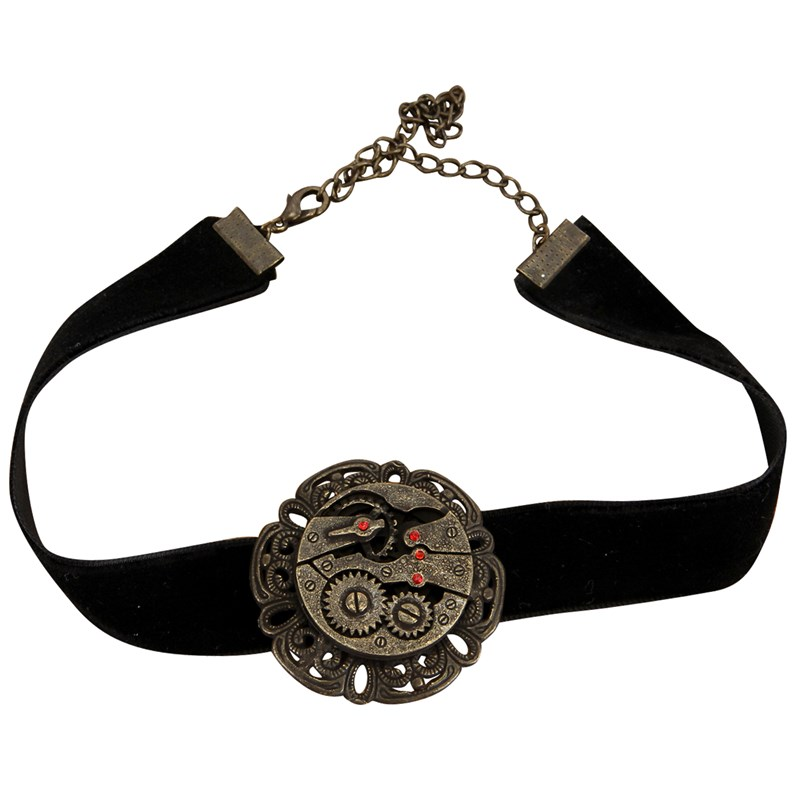 Steampunk Black Velvet Antique Gear Choker Adult for the 2015 Costume season.
