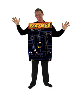 Pac-Man Video Game Screen Poncho Adult Costume