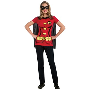 Robin (Female) T-Shirt Adult Costume Kit. Includes: Shirt, Mask, Cape.