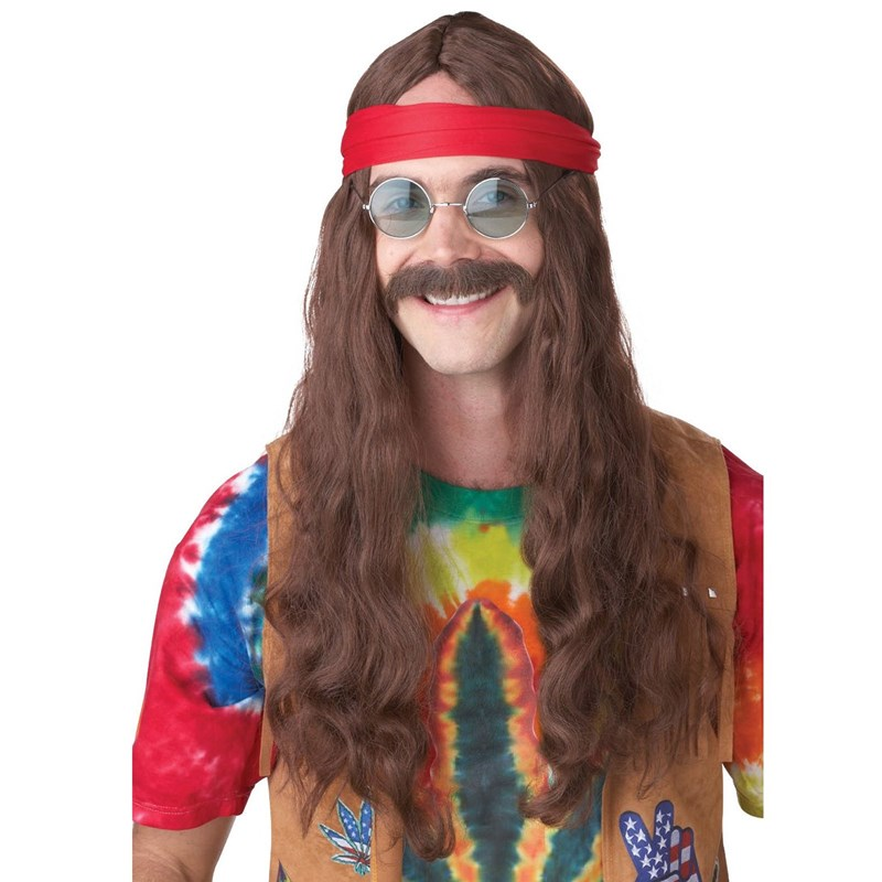 Hippie Man (Brown) Adult Wig and Moustache for the 2015 Costume season.