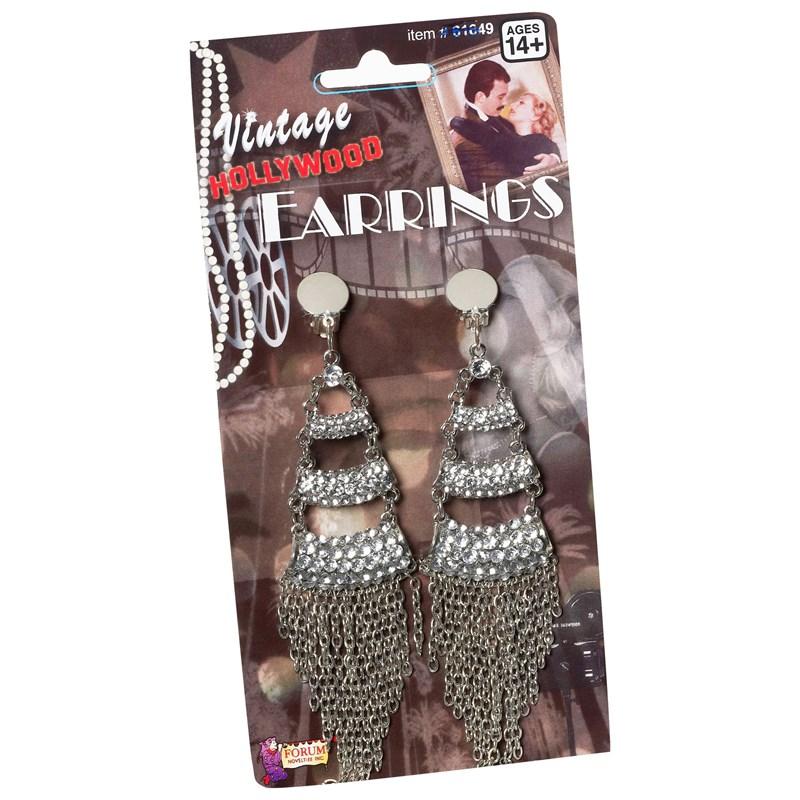 Vintage Hollywood Three Level Rhinestone Adult Earrings for the 2015 Costume season.