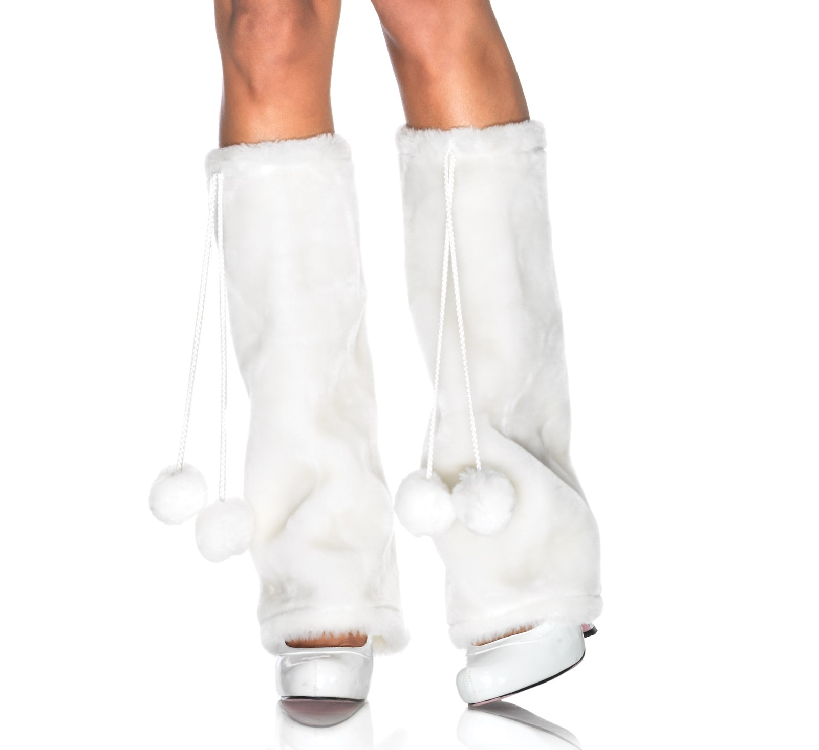Image of Furry White Adult Leg Warmers