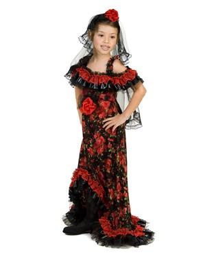 Red Rose Spanish Dancer Child Costume