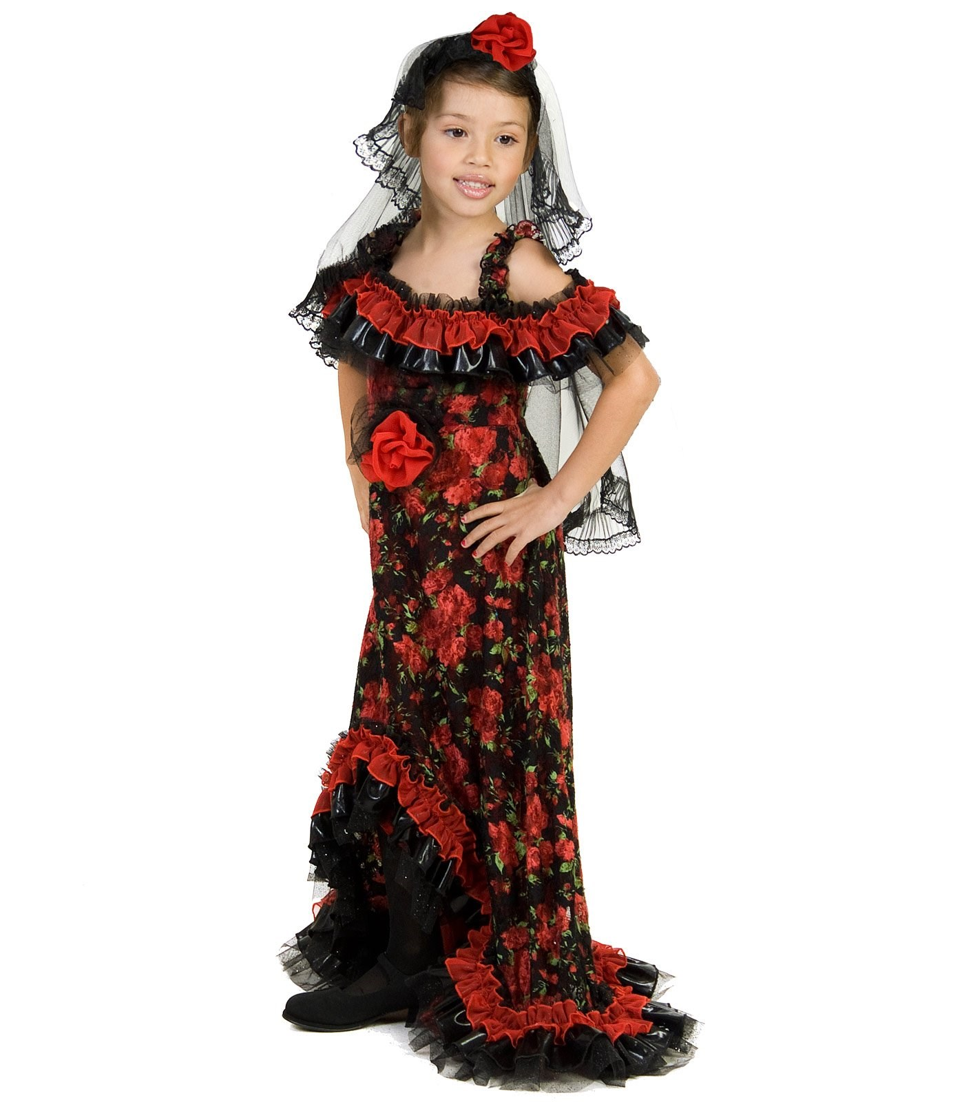 Red Rose Spanish Dancer Child Costume
