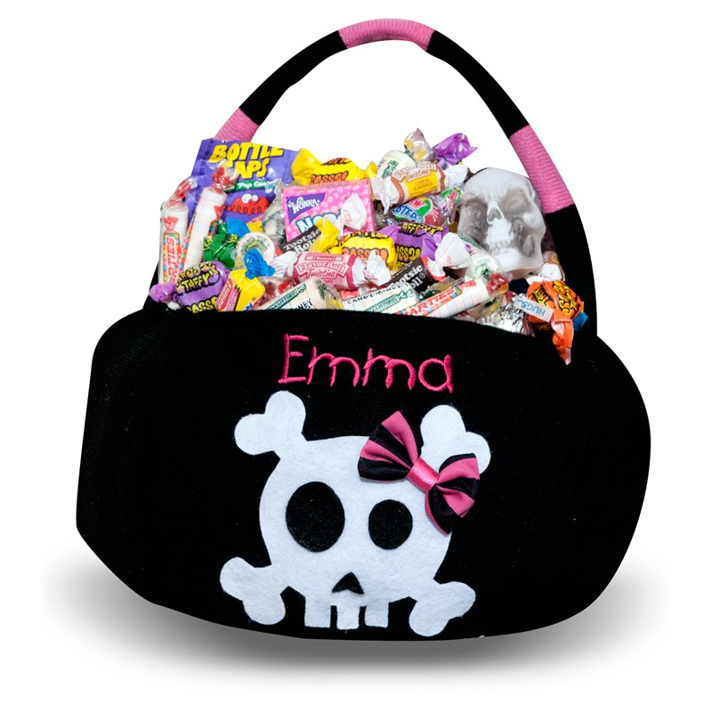Skull Embroidered Plush Treat Pail for the 2015 Costume season.
