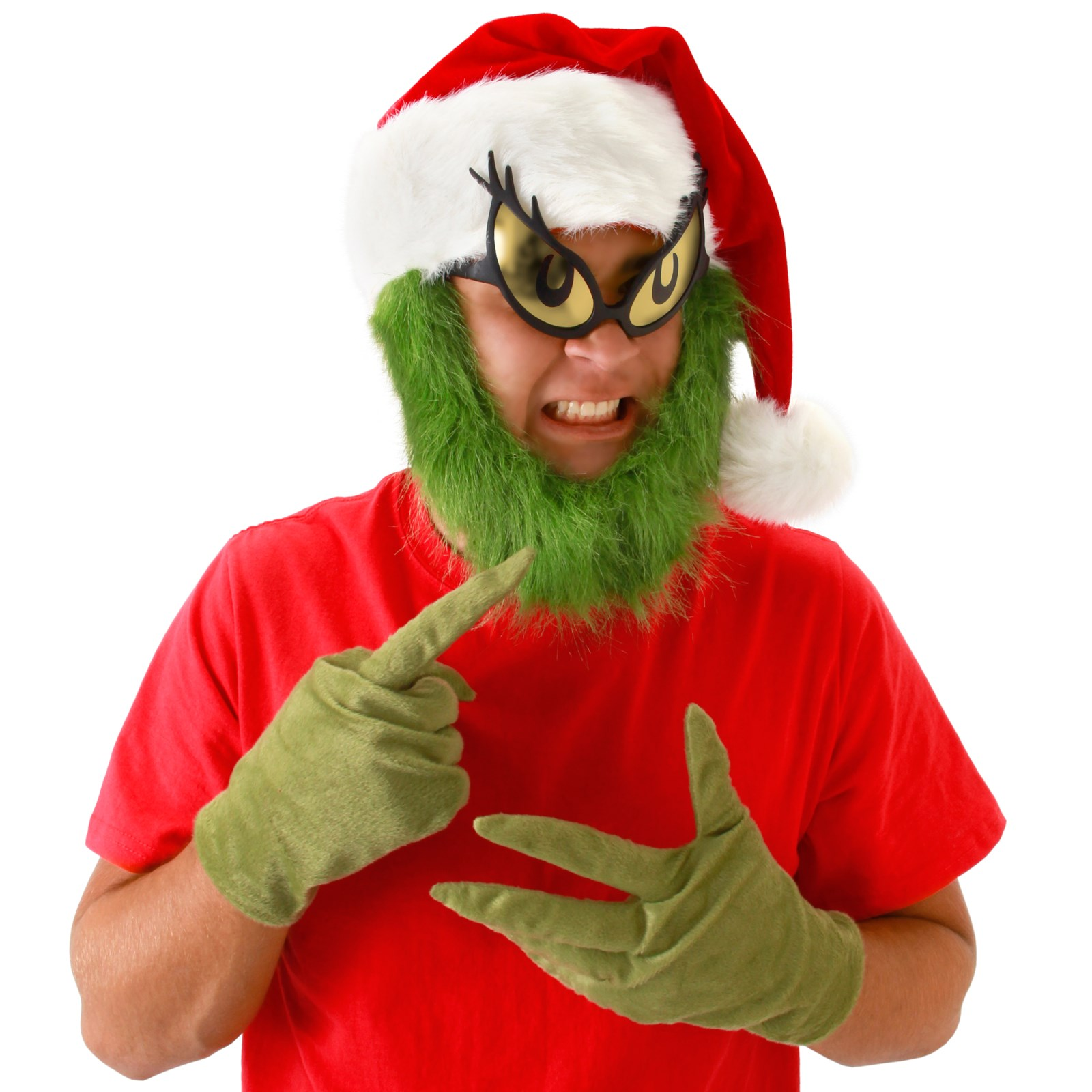 Image of Dr. Seuss Grinch Hat with Beard Adult