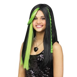 Rave Green Child Wig