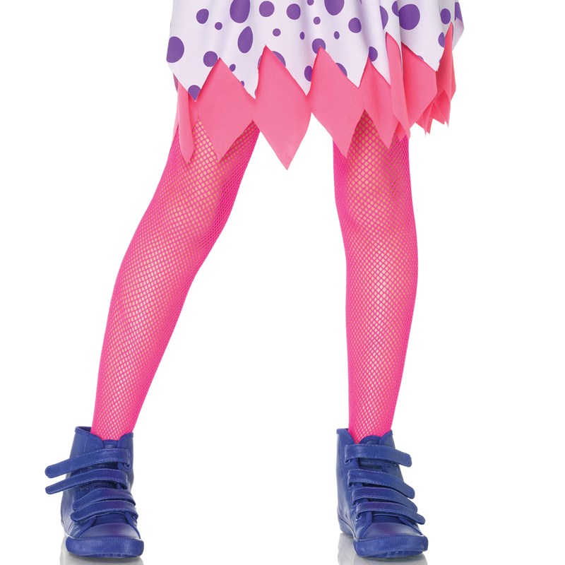 Neon Pink Kids Fishnet Tights for the 2015 Costume season.