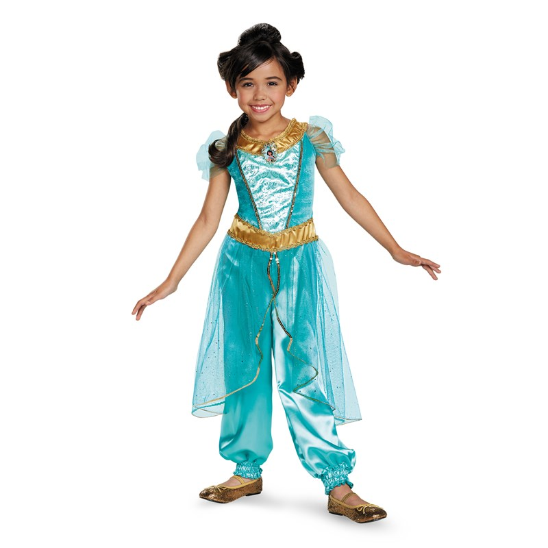 Disney Jasmine Deluxe Sparkle Toddler  and  Child Costume for the 2015 Costume season.