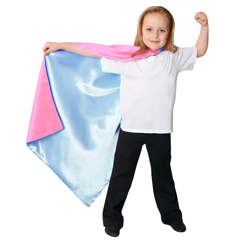 Blue  and  Pink Reversible Superhero Child Cape for the 2015 Costume season.