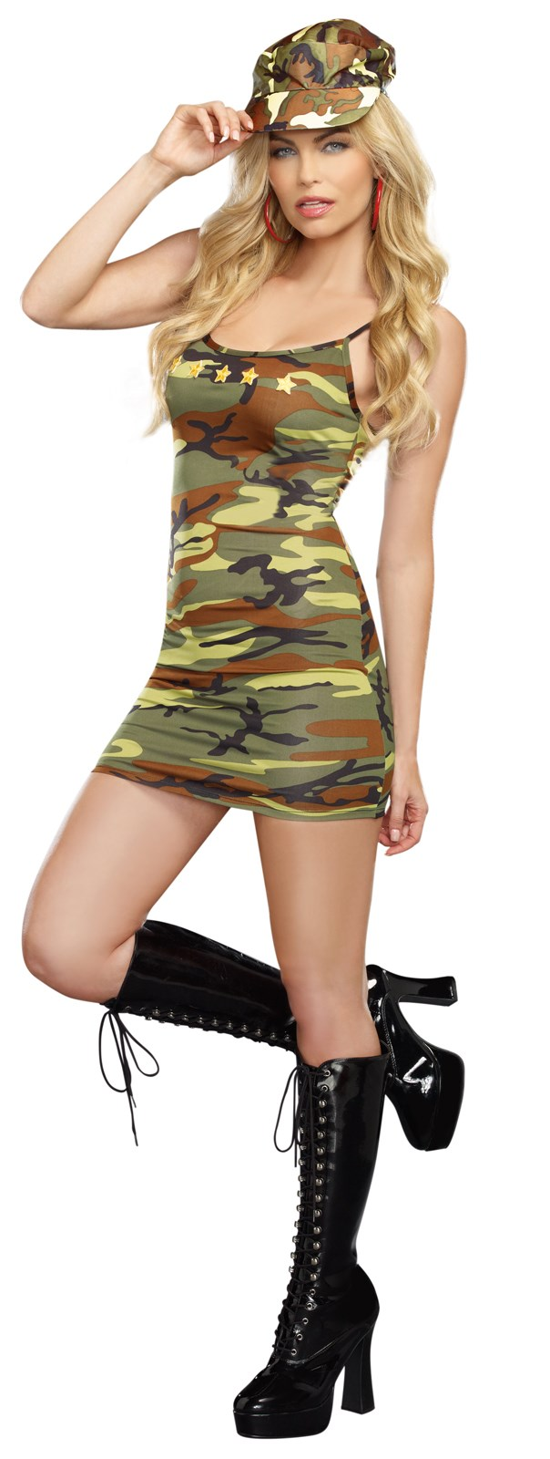 Sexy Camo Dress With Star Appliques