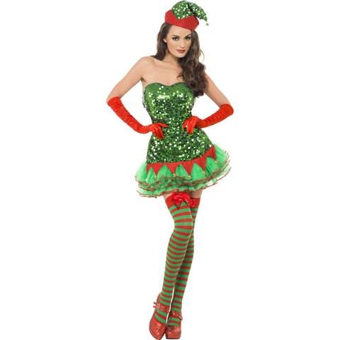 Fever Womens Sequin Elf Dress Costume