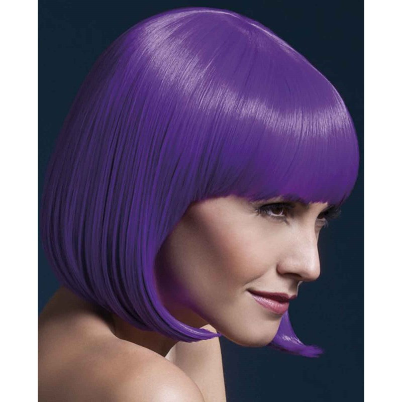Fever Elise Short Neon Purple Wig With Bangs for the 2015 Costume season.