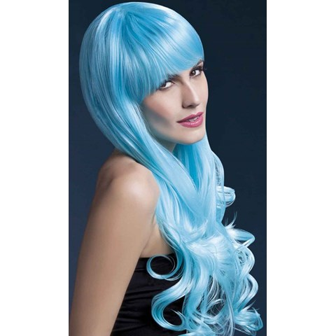 Fever Emily Trendy Long 2-Tone Blue Wig With Bangs