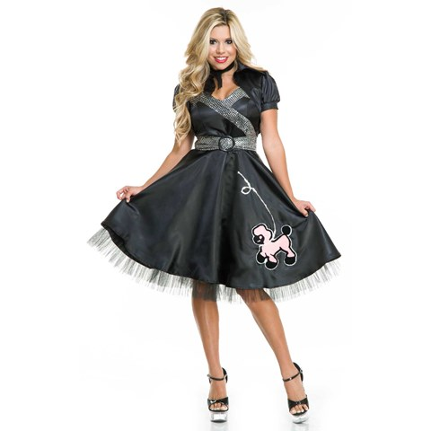 Satin Poodle Dress - Womens Costume