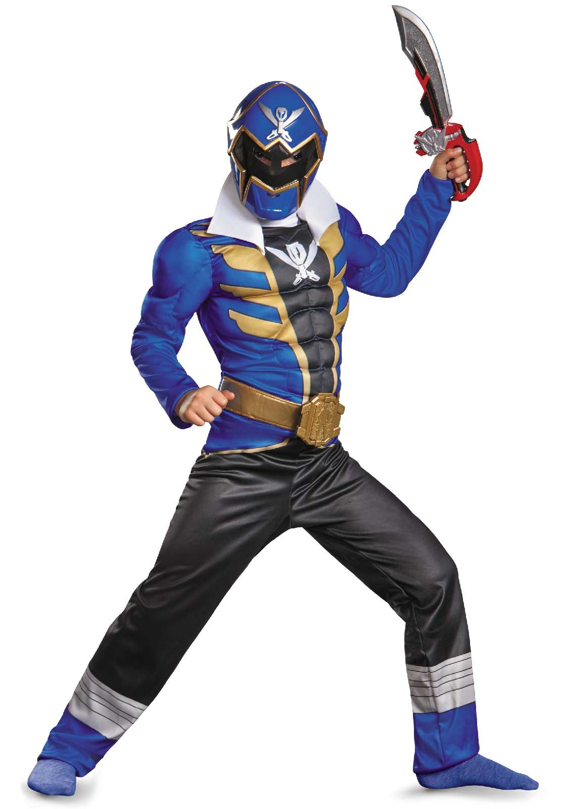 Power Ranger Super Megaforce Blue Ranger Muscle Kids Costume