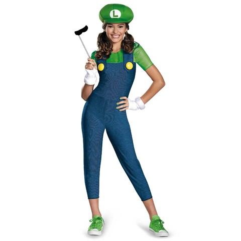 Super Mario Brothers Tween Luigi Girl Costume
