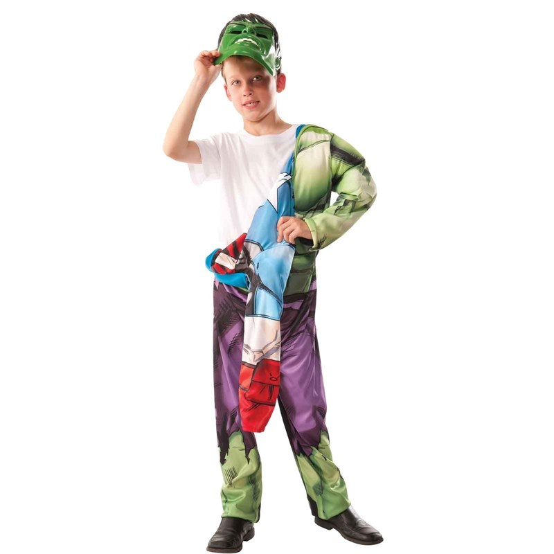 Avengers Assemble   Deluxe Reversible Hulk  Captain America Kids Costume for the 2015 Costume season.