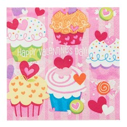 Valentine's Day Cupcake Hearts - Lunch Napkins (16 count)