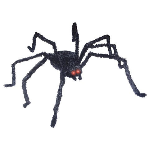 Long Hair Black Spider with Light Up Eyes