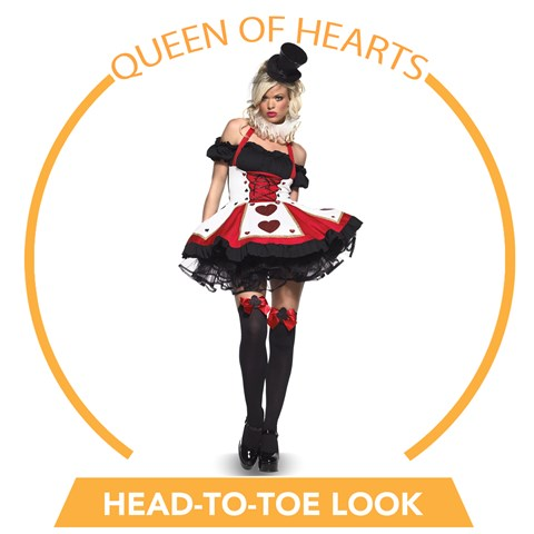 Queen of Hearts Adult Head-to-Toe Look