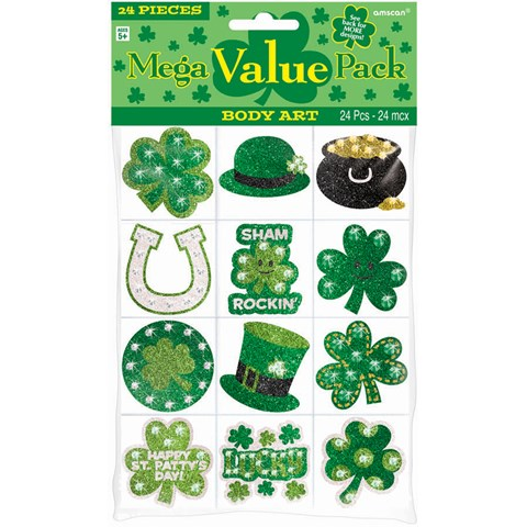 St. Patrick's Day Body Jewels and Tattoos (24 count)