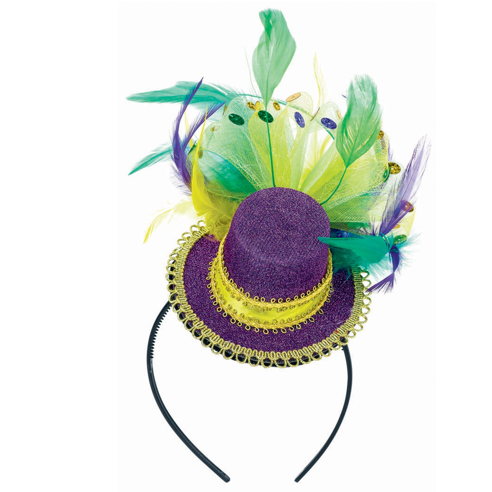 Mardi Gras - Feathered Mini Hat Headband