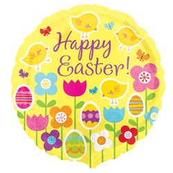 Happy Easter Chick / Flower 18 Foil Balloon