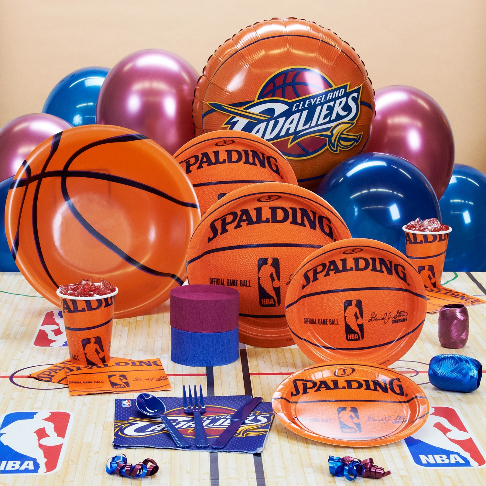 Image of Cleveland Cavaliers NBA Basketball Deluxe Party Kit