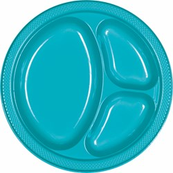 Caribbean Blue Plastic Divided Banquet Dinner Plates (20 count)