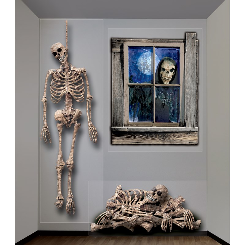 Halloween Giant Ghastly Skeleton Wall Decorations for the 2015 Costume season.