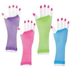 Long Fishnet Neon Gloves Child