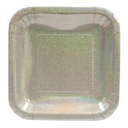 Silver Glitz Square Prismatic Dessert Plates