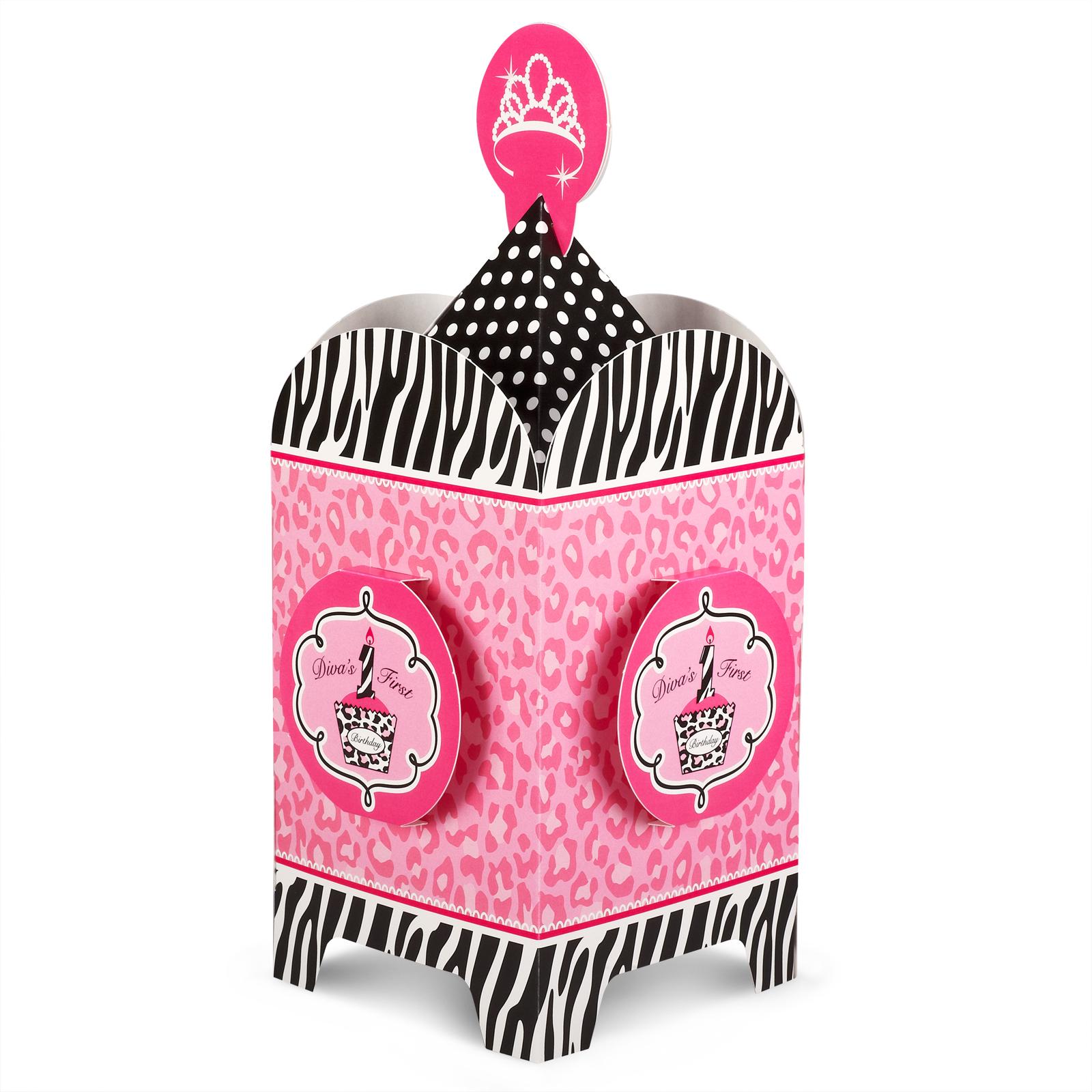Details about Diva Zebra Print 1st Birthday Centerpiece
