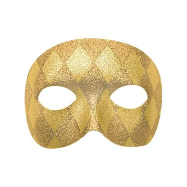 Mardi Gras Gold Harelquin Adult Mask