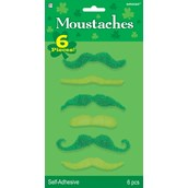 Green Mustaches (Pack of 6)